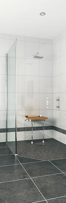 Douche à l'italienne PMR avec siège