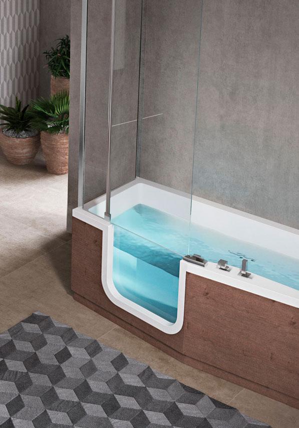 Douche combinée avec paroi