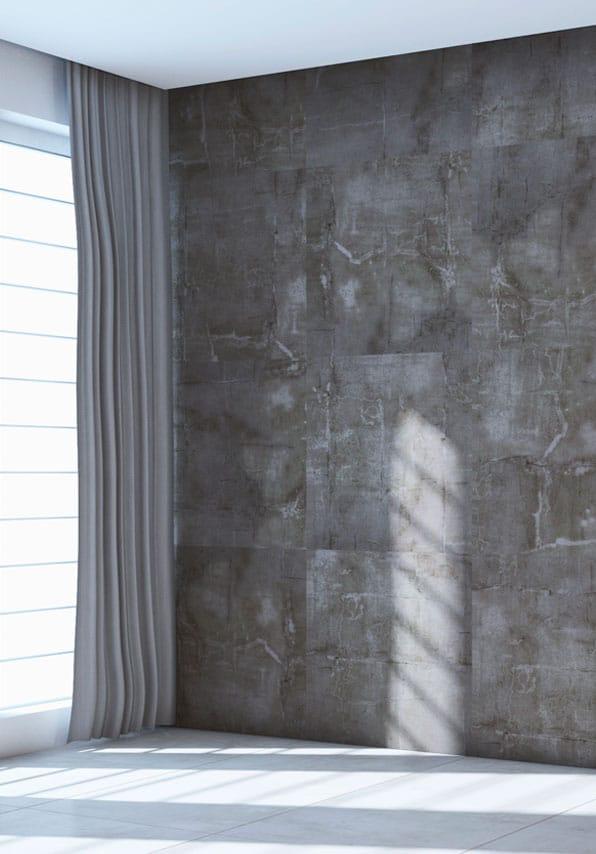 Pièce de vie avec revêtement en feuille de pierre effet ardoise sur les murs