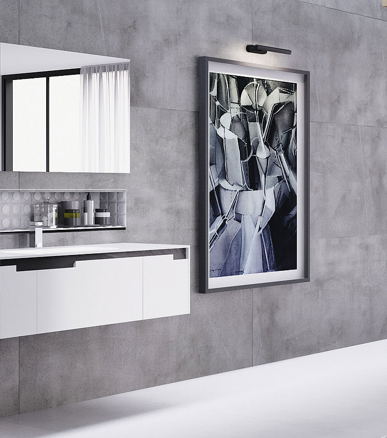 Salle de bain avec revêtement en feuille de pierre sur les murs