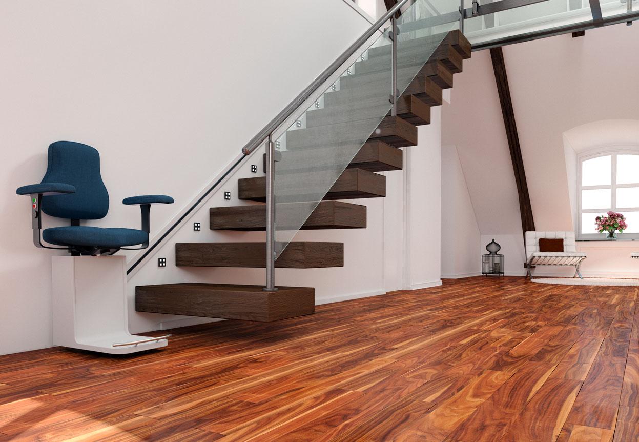 Monte escaliers avec rails sur le mur