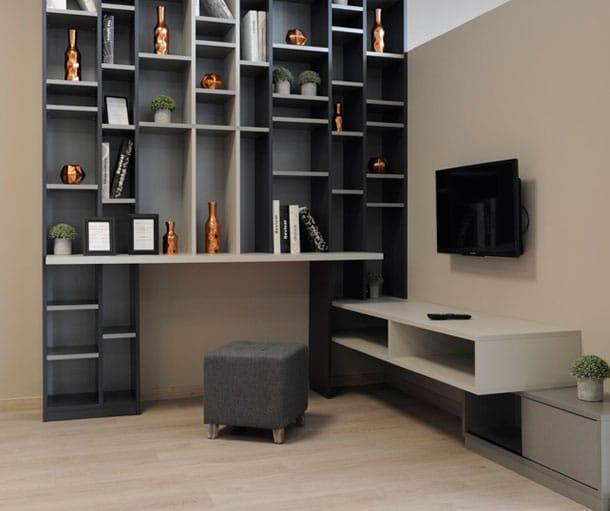 Séjour avec étagères et meubles bas