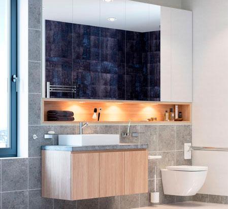 Espace vasque avec meuble et niche, ainsi qu'un meuble déclipsable
