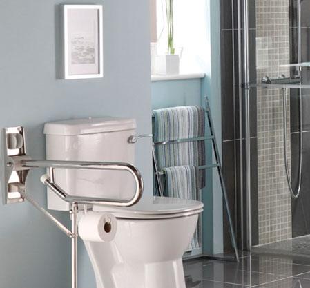 WC rehaussé avec barre d'appui et emplacement pour le rouleau papier