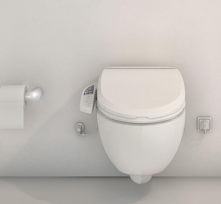 WC rehaussé avec fonction lavante et séchante. Options faciles d'accès