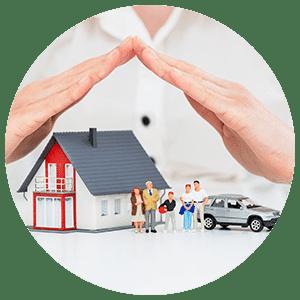Assureur qui protége une maison, une famille et une voiture